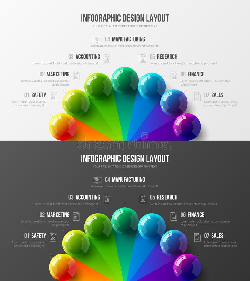 σχεδιάγραμμα σχεδίου απεικόνισης 7 στοιχείων στοιχείων επιχειρησιακών Καταπληκτικό ζωηρόχρωμο τρισδιάστατο infographic σύνολο στα ελεύθερη απεικόνιση δικαιώματος