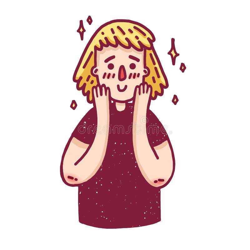 Σχεδιάστε ένα έμβλημα με ένα χαριτωμένο ξανθό κορίτσι Μια αφίσα με έναν χαρακτήρα κινουμένων σχεδίων μιας γυναίκας που λαμβάνει μ απεικόνιση αποθεμάτων