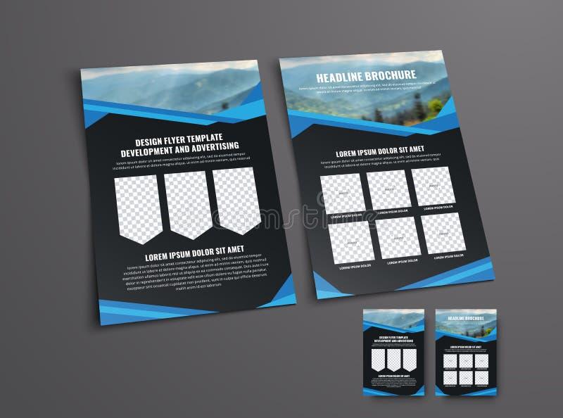 Σχεδιάστε τις μπροστινές και πίσω σελίδες του μαύρου ιπτάμενου με μια θέση ελεύθερη απεικόνιση δικαιώματος