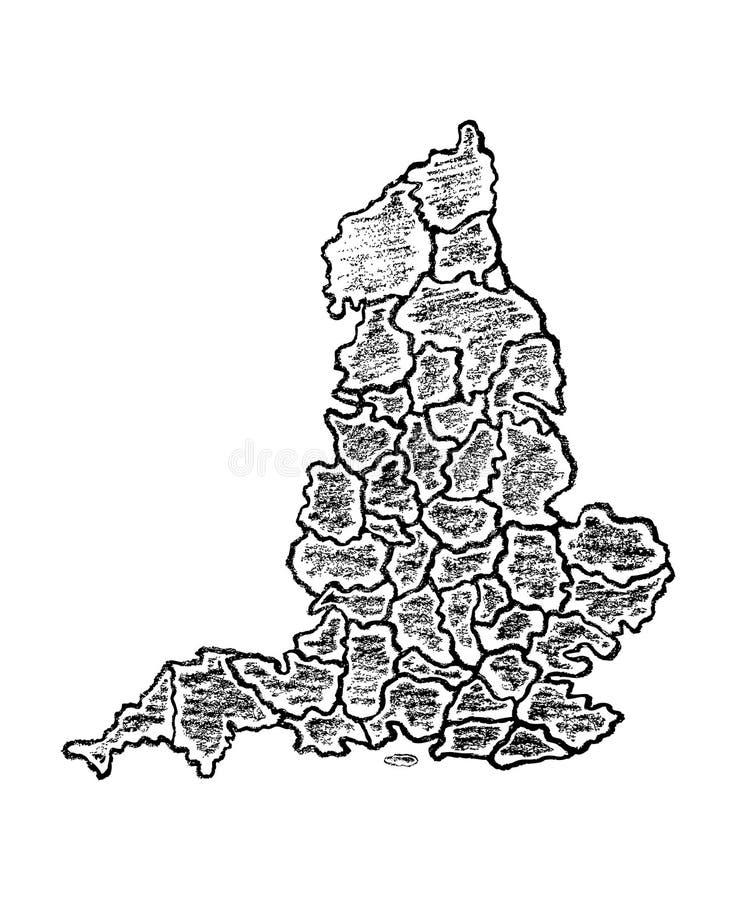 Σχεδιαζόμενος χέρι χάρτης της Αγγλίας ελεύθερη απεικόνιση δικαιώματος