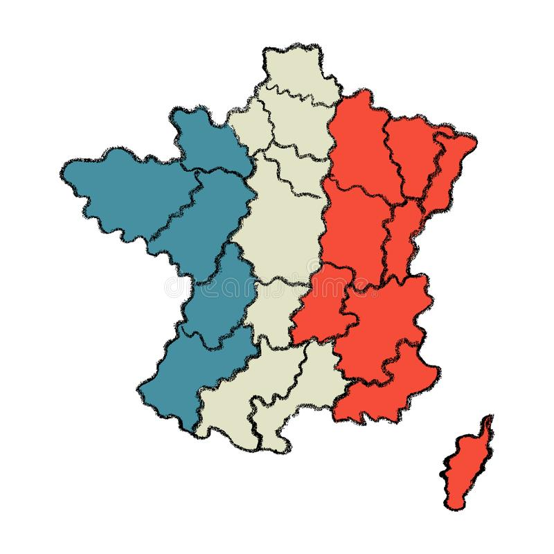 Σχεδιαζόμενος χέρι χάρτης της Γαλλίας διανυσματική απεικόνιση