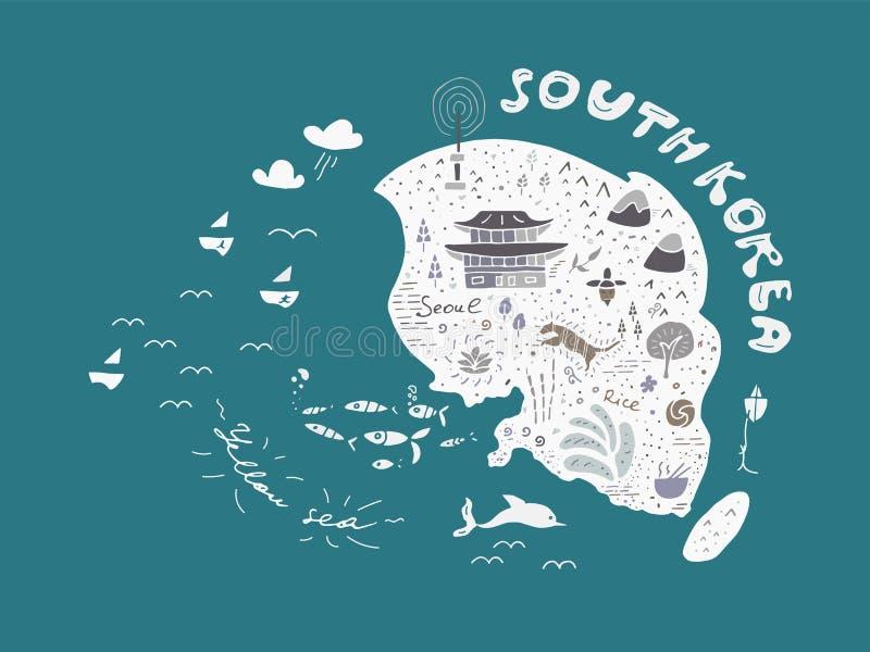 Σχεδιαζόμενος χέρι χάρτης της διανυσματικής απεικόνισης της Νότιας Κορέας, σχέδιο ελεύθερη απεικόνιση δικαιώματος