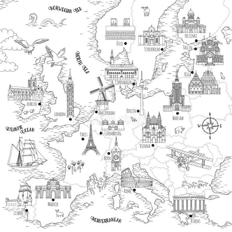 Σχεδιαζόμενος χέρι χάρτης της Ευρώπης ελεύθερη απεικόνιση δικαιώματος