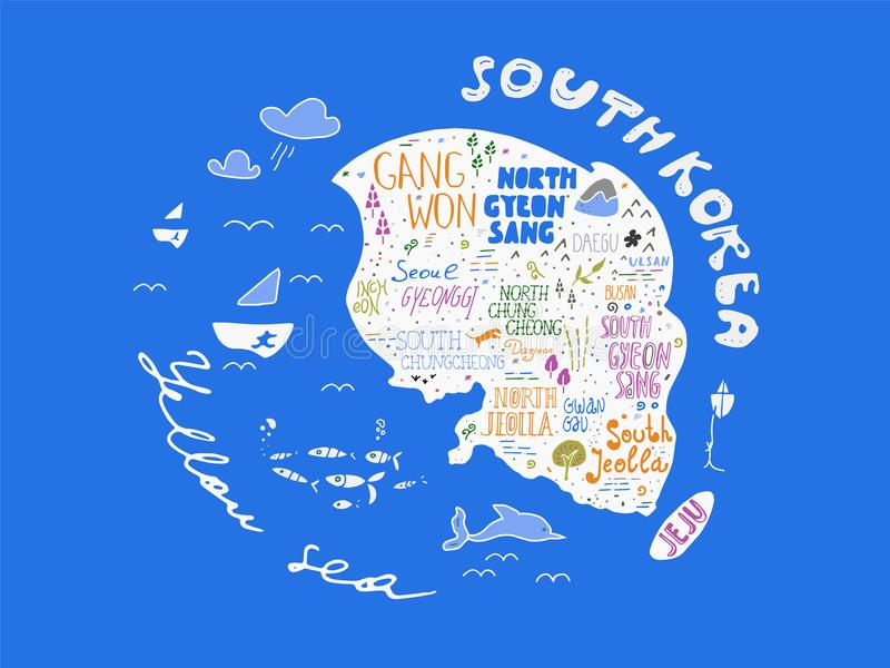 Σχεδιαζόμενος χέρι χάρτης χωρών της διανυσματικής απεικόνισης της Κορέας, σχέδιο διανυσματική απεικόνιση