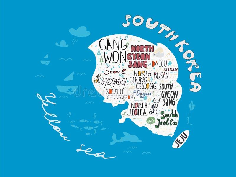 Σχεδιαζόμενος χέρι χάρτης χωρών της διανυσματικής απεικόνισης της Κορέας, αφίσα σχεδίου απεικόνιση αποθεμάτων