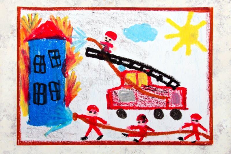 Σχεδιασμός: κόκκινο πυροσβεστικό όχημα με μια σκάλα εξαφανίστε τους εθελ&omicr διανυσματική απεικόνιση