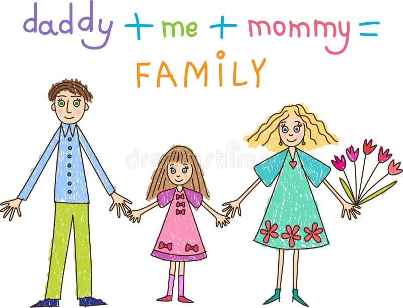 Σχεδιασμός παιδιών. Οικογένεια: μητέρα, πατέρας και κόρη διανυσματική απεικόνιση