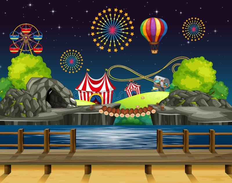 Σχεδιασμός σκηνικού με πυροτεχνήματα στο καρναβάλι διανυσματική απεικόνιση
