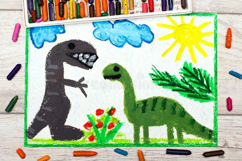 Σχεδιασμός: Χαμογελώντας δεινόσαυροι Μεγάλοι diplodocus και τυραννόσαυρος rex απεικόνιση αποθεμάτων