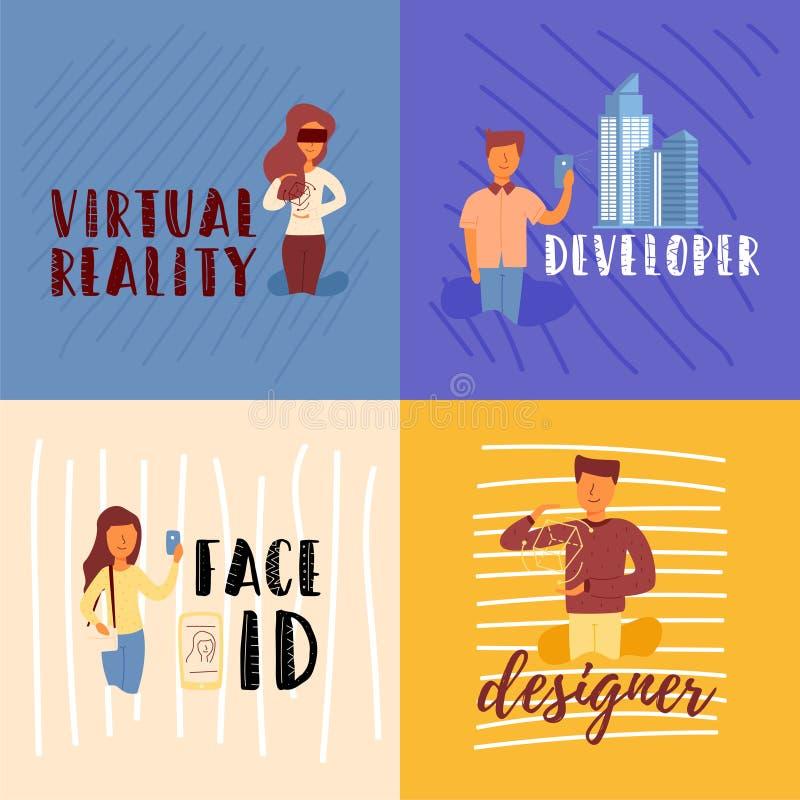 Σχεδιαστής ταυτότητας προσώπου υπεύθυνων για την ανάπτυξη απεικόνιση αποθεμάτων