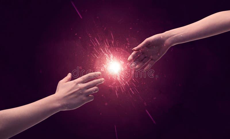 Σχετικά με τα χέρια το φως λαμπιρίζει επάνω στο διάστημα στοκ εικόνες με δικαίωμα ελεύθερης χρήσης