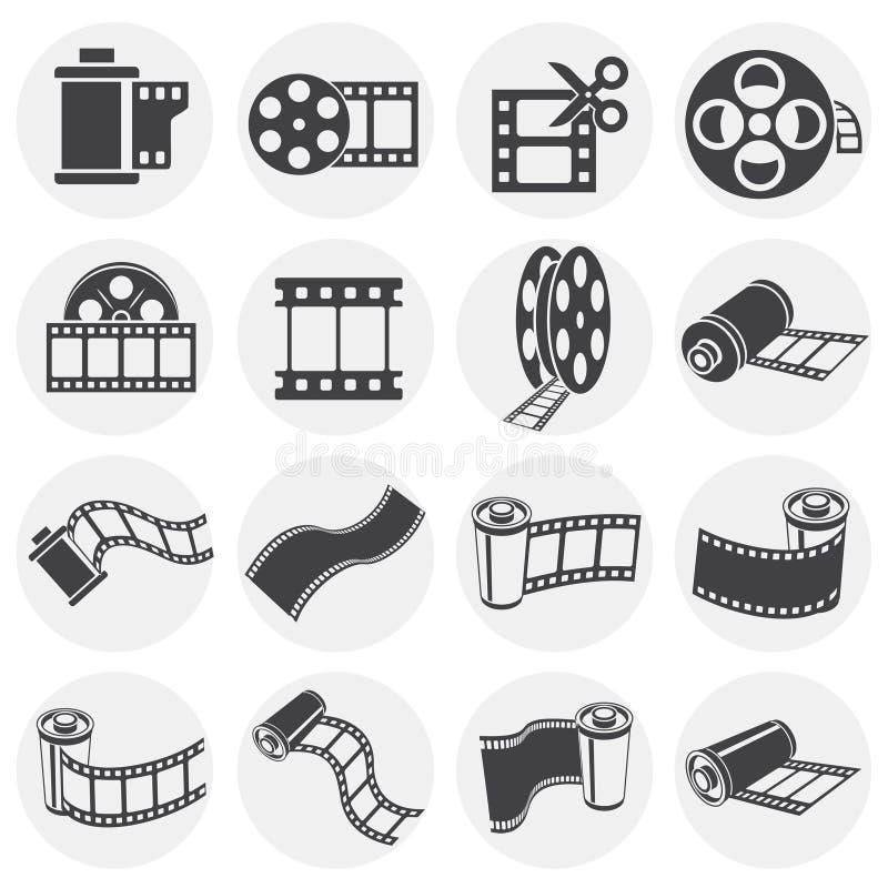 Σχετικά με τη λουρίδα εικονίδια ταινιών που τίθενται στο υπόβαθρο για το γραφικό και σχέδιο Ιστού o r απεικόνιση αποθεμάτων