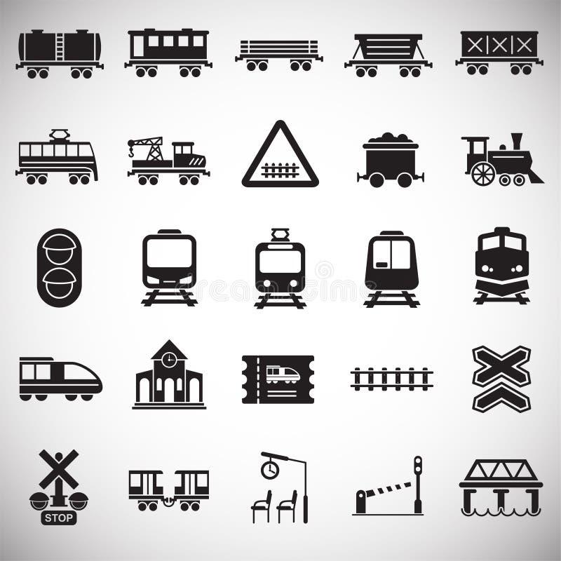 Σχετικά με το σιδηρόδρομο εικονίδια που τίθενται στο άσπρο υπόβαθρο για το γραφικό και σχέδιο Ιστού Απλό διανυσματικό σημάδι Σύμβ απεικόνιση αποθεμάτων