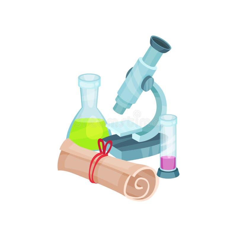 Σχετικά με το σχολείο στοιχεία Μικροσκόπιο, φιάλες με τα υγρά και κυλημένο έγγραφο η στενή dof δοκιμή εργαστηριακών χαμηλή φωτογρ ελεύθερη απεικόνιση δικαιώματος