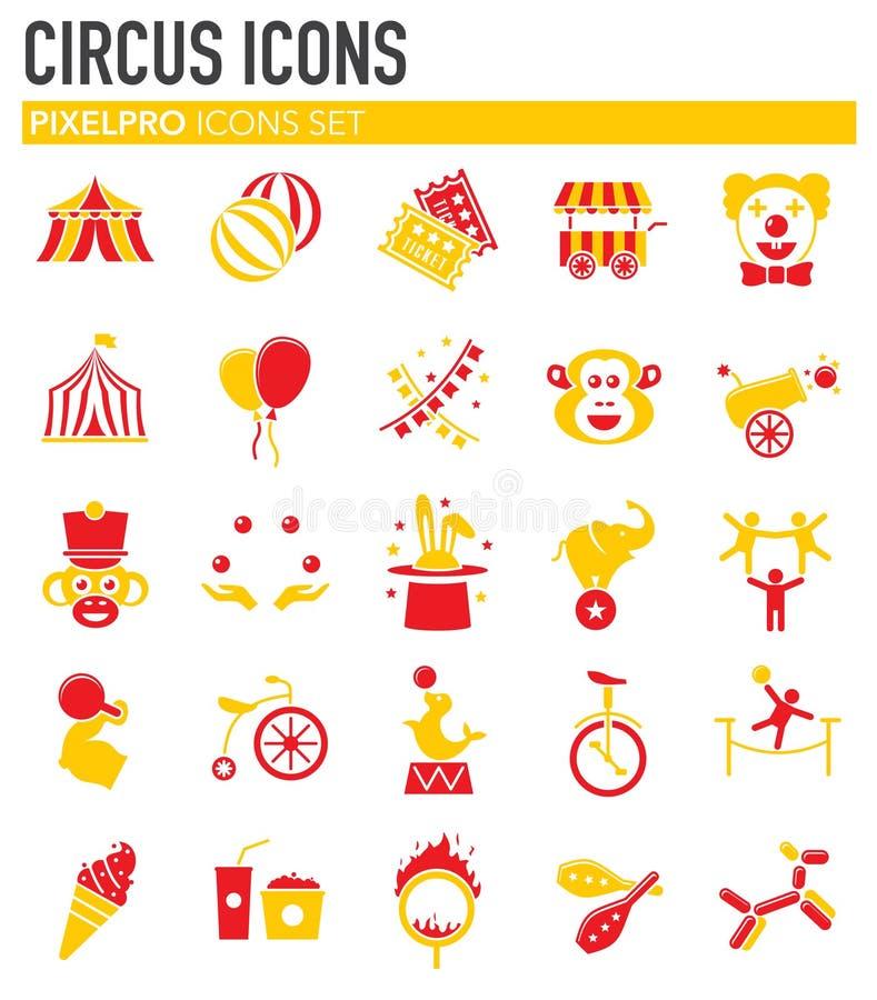 Σχετικά με το τσίρκο εικονίδια που τίθενται στο υπόβαθρο για το γραφικό και σχέδιο Ιστού o r απεικόνιση αποθεμάτων
