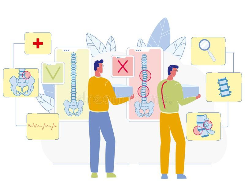 Σχετική με την εργασία επίπεδη διανυσματική έννοια ασθενειών σπονδυλΠαπεικόνιση αποθεμάτων