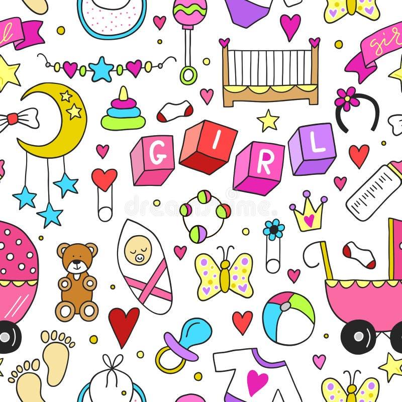 Σχετικό με το κοριτσάκι άνευ ραφής σχέδιο συλλογής εικονιδίων αυτοκόλλητων ετικεττών Χαριτωμένο σχέδιο συμβόλων Συρμένη παιδί απε ελεύθερη απεικόνιση δικαιώματος