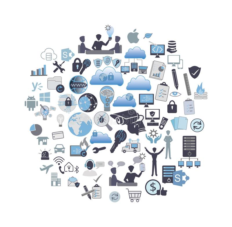 Σχετικό σύνολο εικονιδίων τεχνολογίας πληροφοριών απεικόνιση αποθεμάτων