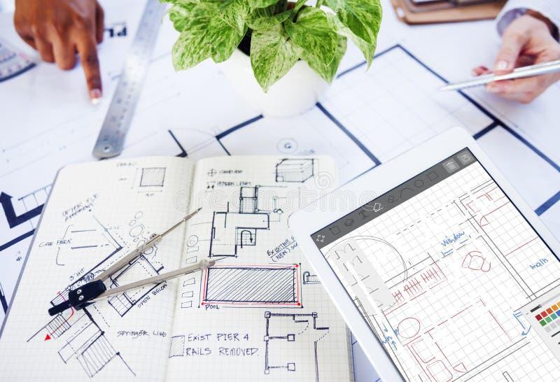 Σχεδιάγραμμα αρχιτεκτονικής που σχεδιάζει την έννοια δομών εφαρμοσμένης μηχανικής στοκ φωτογραφία