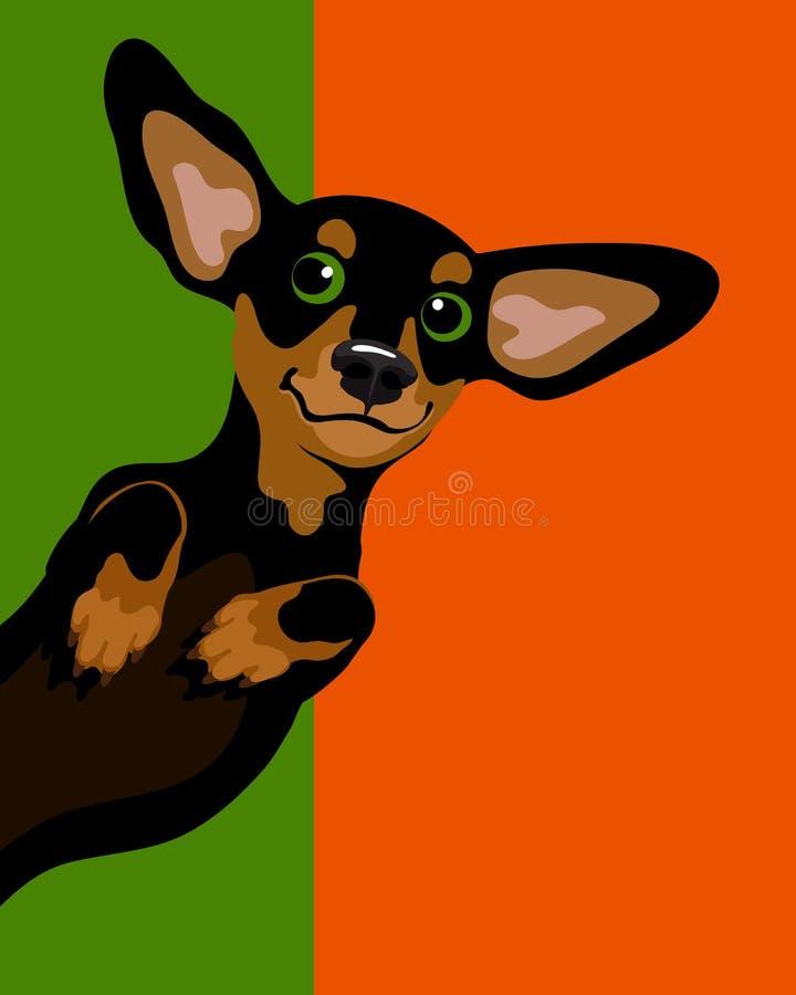 Σχεδιάγραμμα αφισών με το σκυλί λουκάνικων Dachshund απεικόνιση αποθεμάτων