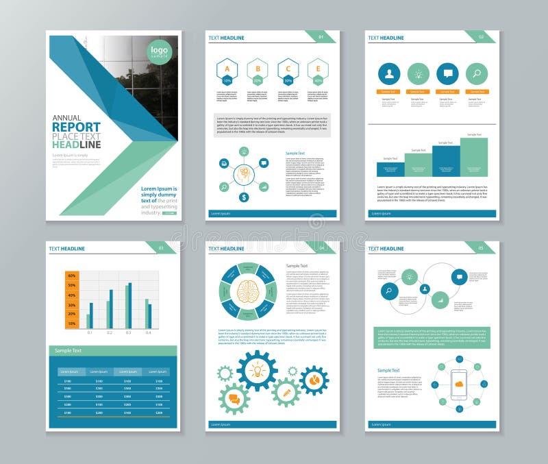 Σχεδιάγραμμα επιχείρησης, ετήσια έκθεση, φυλλάδιο, ιπτάμενο, πρότυπο σχεδιαγράμματος σελίδων απεικόνιση αποθεμάτων