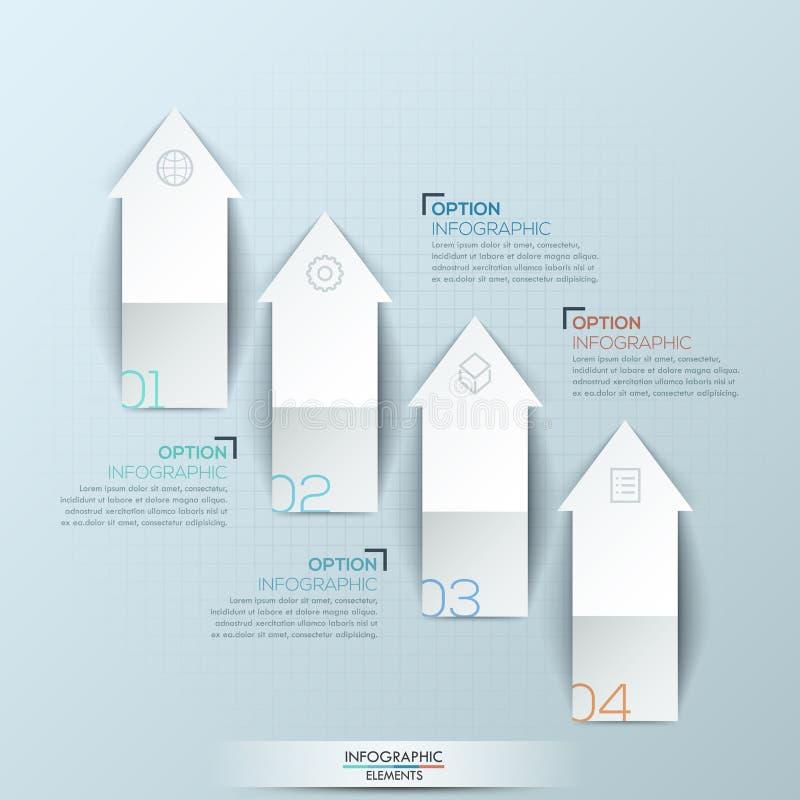 Σχεδιάγραμμα σχεδίου Infographic με 4 αριθμημένα ανοδικά βέλη υπόδειξης και παράθυρα κειμένου απεικόνιση αποθεμάτων