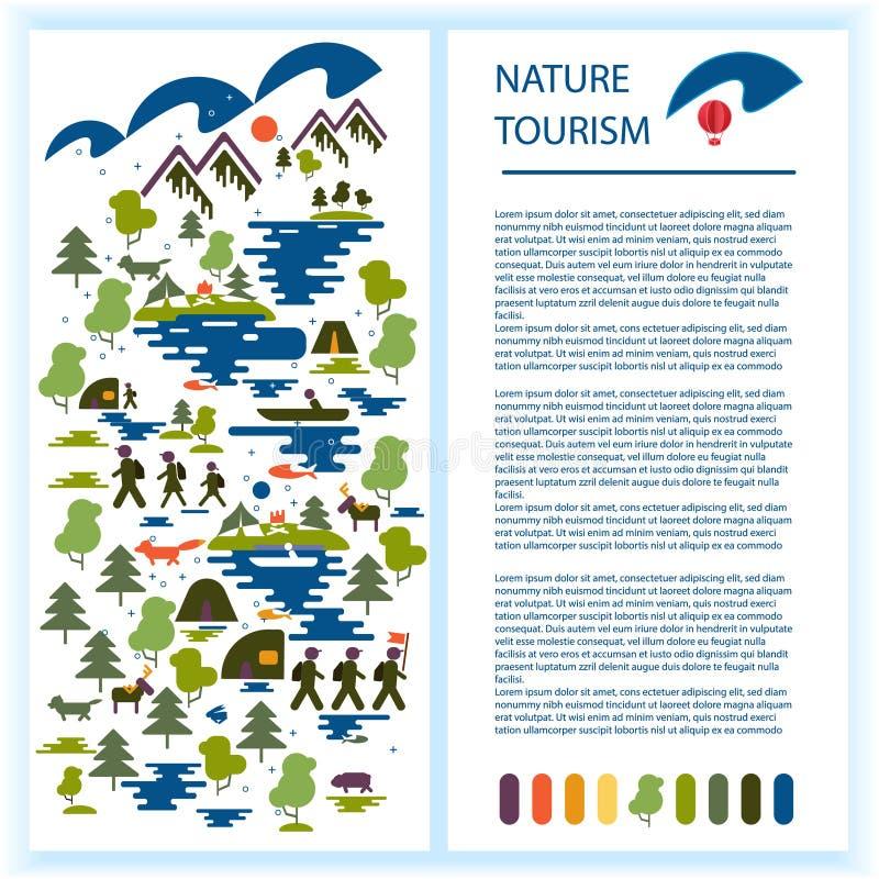 Σχεδιάγραμμα του βιβλιάριου ή της διαφήμισης τουριστών Εικόνες των τουριστών, δάσος, βουνά, λίμνη, αλιεία, άγρια ζώα οικολογικός  ελεύθερη απεικόνιση δικαιώματος