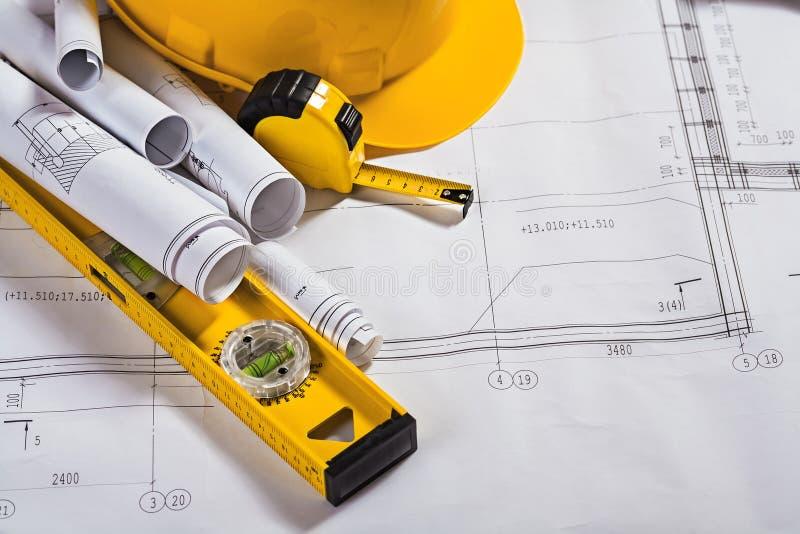 Σχεδιαγράμματα αρχιτεκτονικής και εργαλείο εργασίας στοκ εικόνα με δικαίωμα ελεύθερης χρήσης