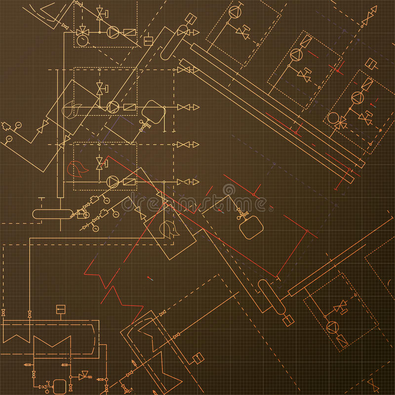 Σχεδιαγράμματα με το σπίτι λεβήτων Κατασκευή του steamshop Διανυσματικές απεικονίσεις εφαρμοσμένης μηχανικής σύρετε τεχνικό απεικόνιση αποθεμάτων