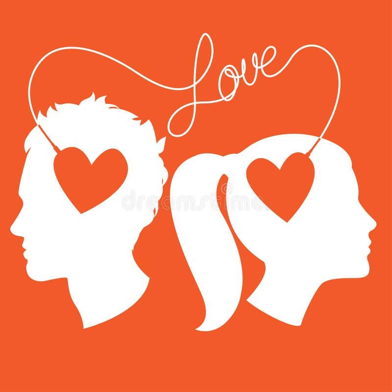 Σχεδιαγράμματα του άνδρα και της γυναίκας που συνδέονται με το καλώδιο αγάπης ελεύθερη απεικόνιση δικαιώματος