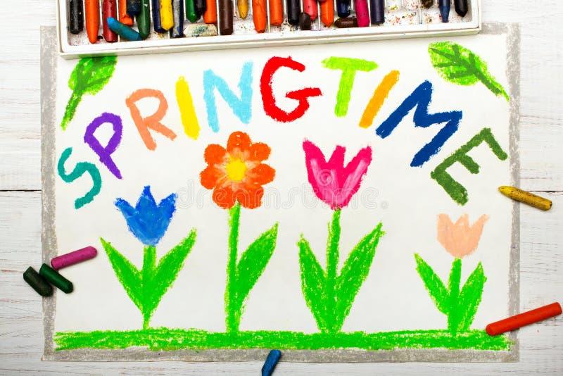 Σχεδιασμός: ΑΝΟΙΞΗ και λουλούδια λέξης διανυσματική απεικόνιση