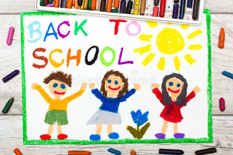 Σχεδιασμός: Λέξη ΠΙΣΩ στο ΣΧΟΛΕΙΟ και τα ευτυχή παιδιά ημερήσιο πρώτο σχολείο απεικόνιση αποθεμάτων
