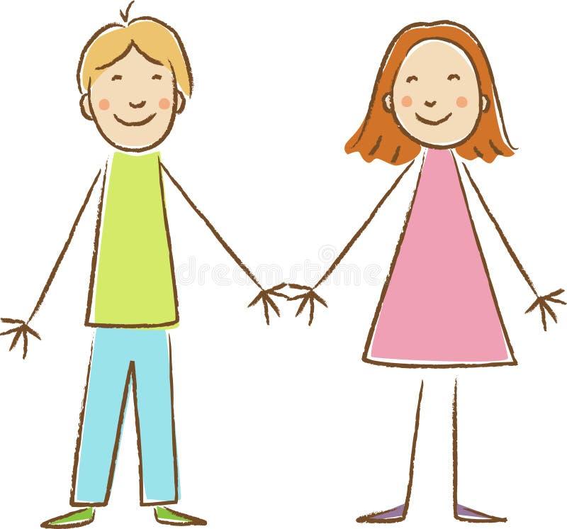 Σχεδιασμός παιδιών. Αγόρι και κορίτσι ελεύθερη απεικόνιση δικαιώματος