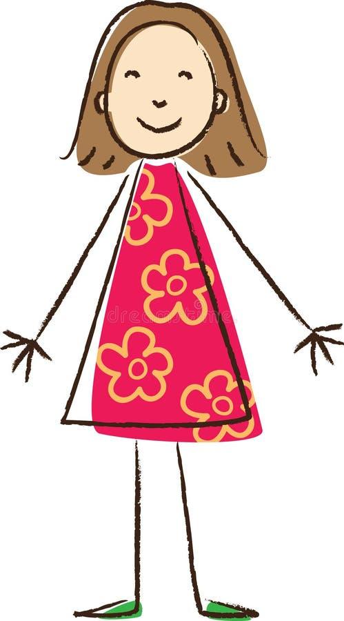 Σχεδιασμός παιδιών. Κορίτσι διανυσματική απεικόνιση