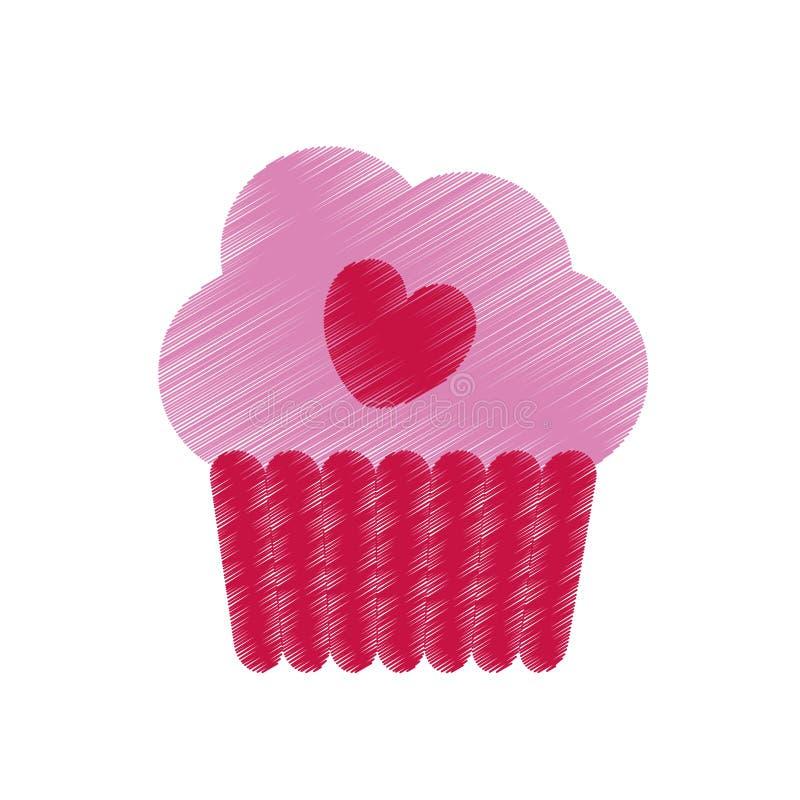 σχεδιασμός της ρόδινης φλυτζανιών κέικ ημέρας βαλεντίνων εορτασμού καρδιών νόστιμης ελεύθερη απεικόνιση δικαιώματος