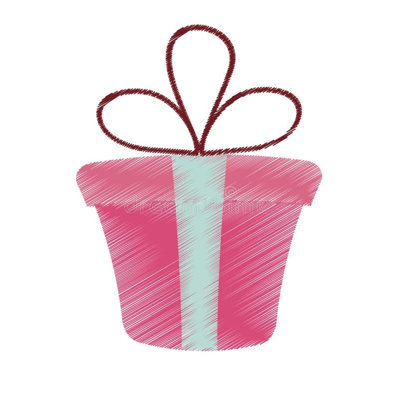σχεδιασμός της ρόδινης δώρων ημέρας βαλεντίνων κορδελλών κιβωτίων παρούσας διανυσματική απεικόνιση