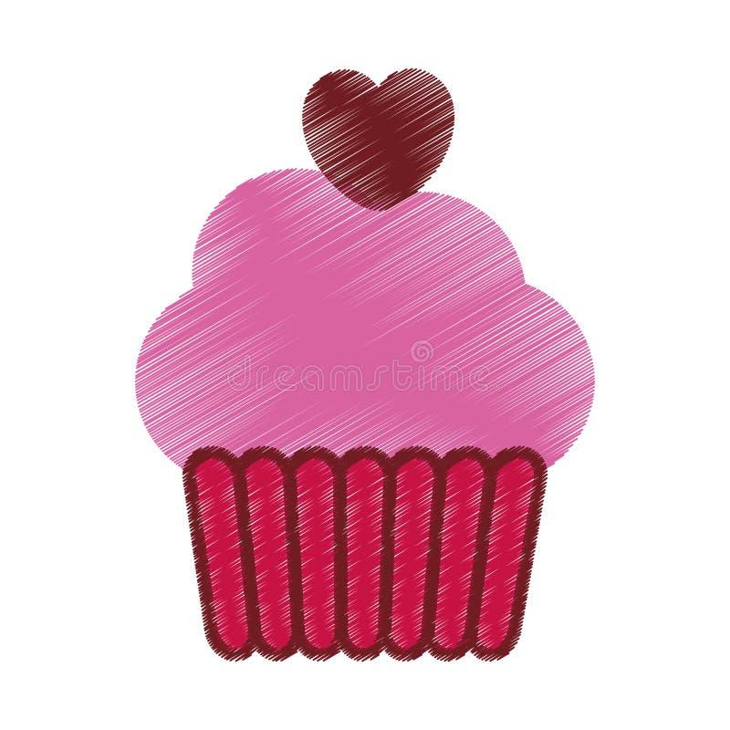 σχεδιασμός του ρόδινου κόμματος καρδιών κέικ φλυτζανιών απεικόνιση αποθεμάτων