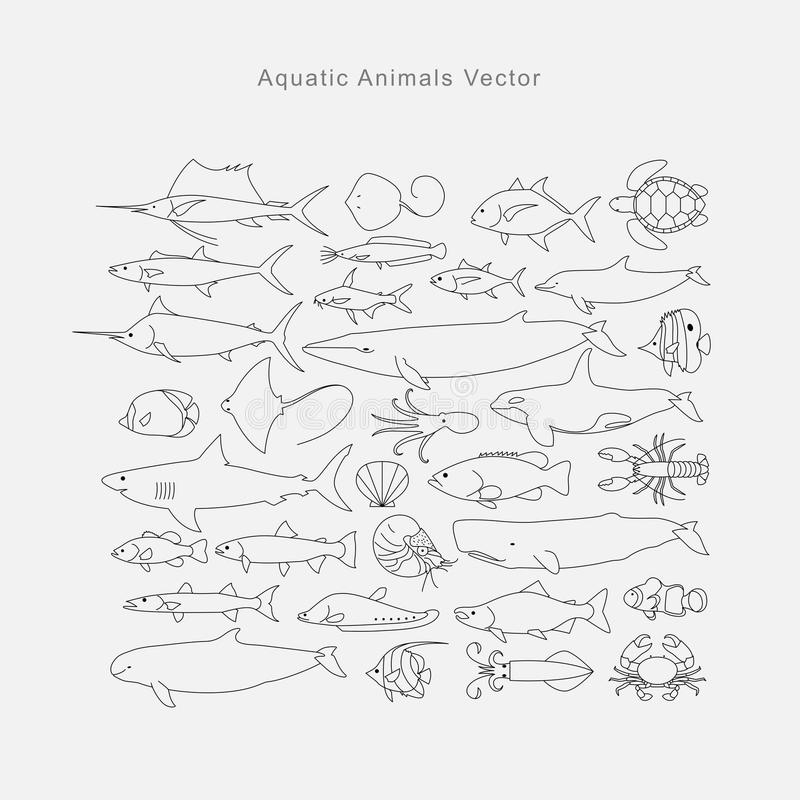 Σχεδιασμός των υδρόβιων ζώων, διάνυσμα απεικόνιση αποθεμάτων
