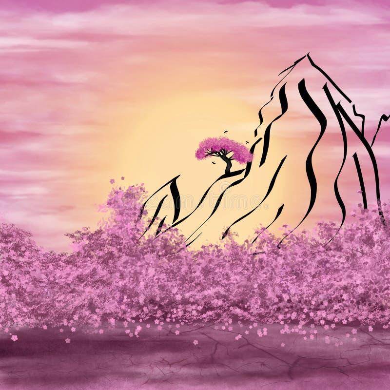 Σχηματικά βουνά και άνθισμα διανυσματική απεικόνιση