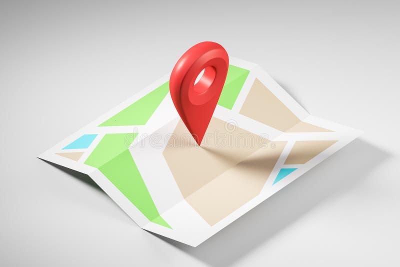 Σχηματικός χάρτης με το μεγάλο κόκκινο δείκτη στο κέντρο ελεύθερη απεικόνιση δικαιώματος