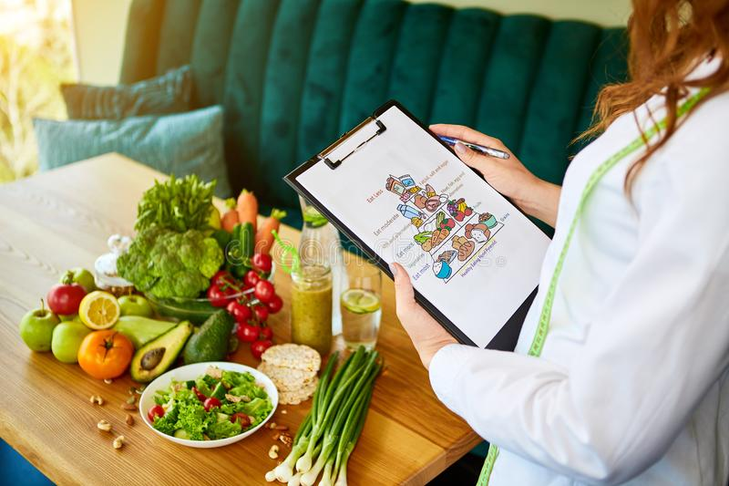 Σχηματικό σχέδιο γεύματος εκμετάλλευσης για τη διατροφή με τα διάφορα υγιή προϊόντα στο υπόβαθρο Απώλεια βάρους και σωστή έννοια  στοκ εικόνες με δικαίωμα ελεύθερης χρήσης