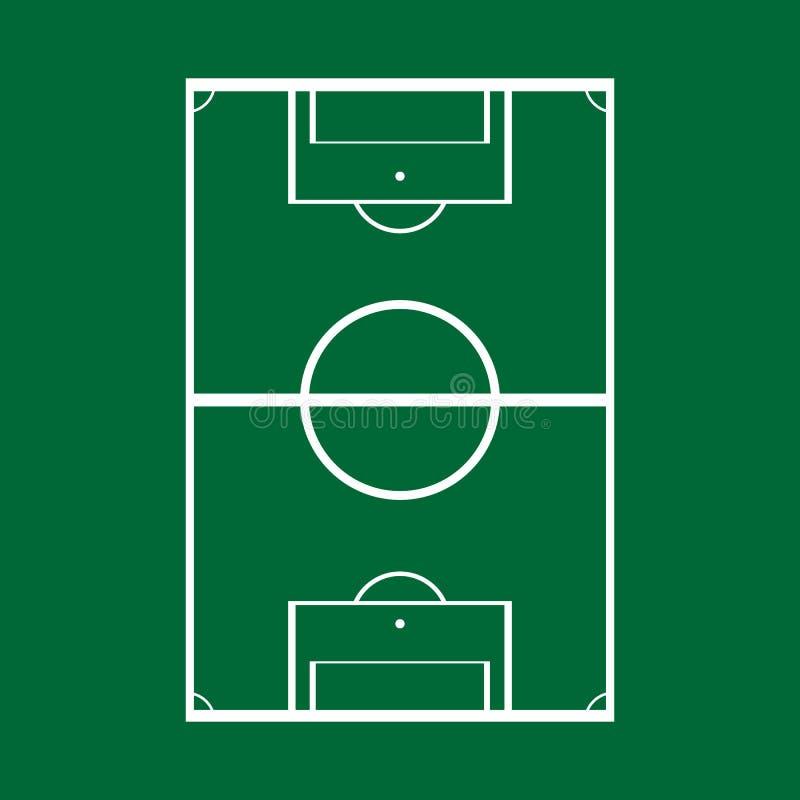 Σχηματικό σχέδιο ενός αγωνιστικού χώρου ποδοσφαίρου, τοπ άποψη r απεικόνιση αποθεμάτων