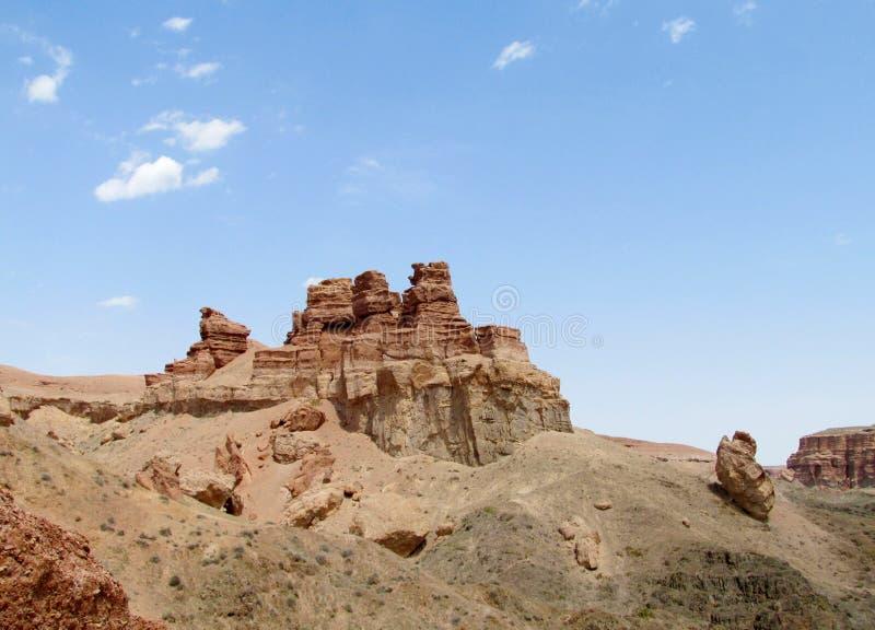 Σχηματισμοί βράχου στο εθνικό πάρκο Charyn φαραγγιών (Sharyn) στοκ εικόνες με δικαίωμα ελεύθερης χρήσης