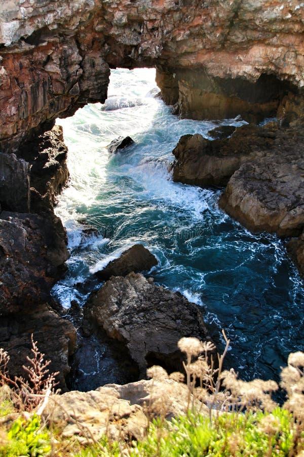 Σχηματισμός απότομων βράχων στο Κασκάις αποκαλούμενος Boca do Inferno στοκ φωτογραφία με δικαίωμα ελεύθερης χρήσης