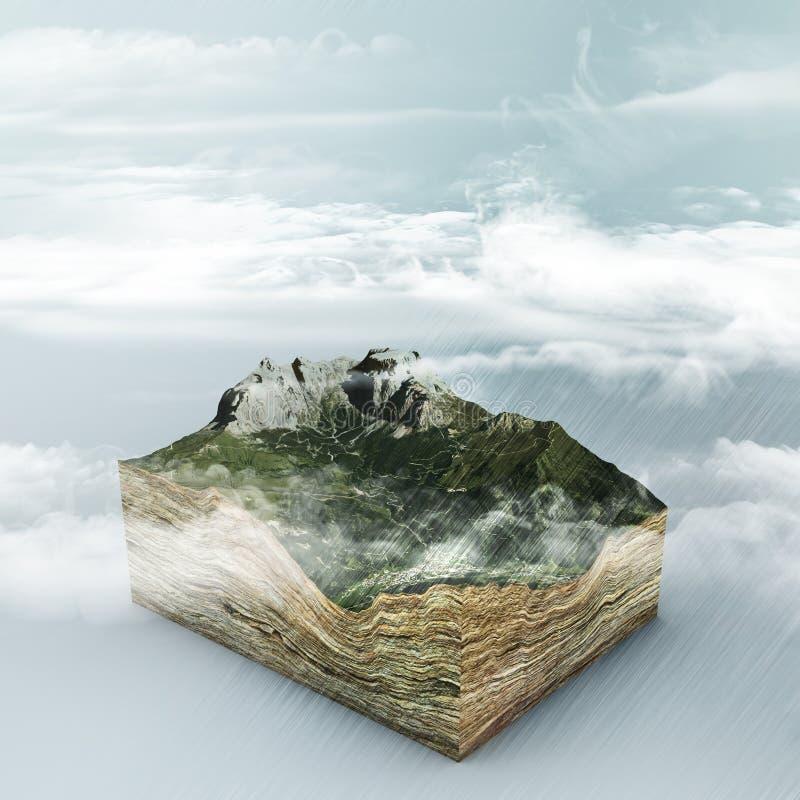 Σχηματισμός και βροχή σύννεφων τρισδιάστατο τμήμα ενός εδάφους Βουνά και κοιλάδες Κλιματική αλλαγή Παγκόσμια αύξηση της θερμοκρασ απεικόνιση αποθεμάτων