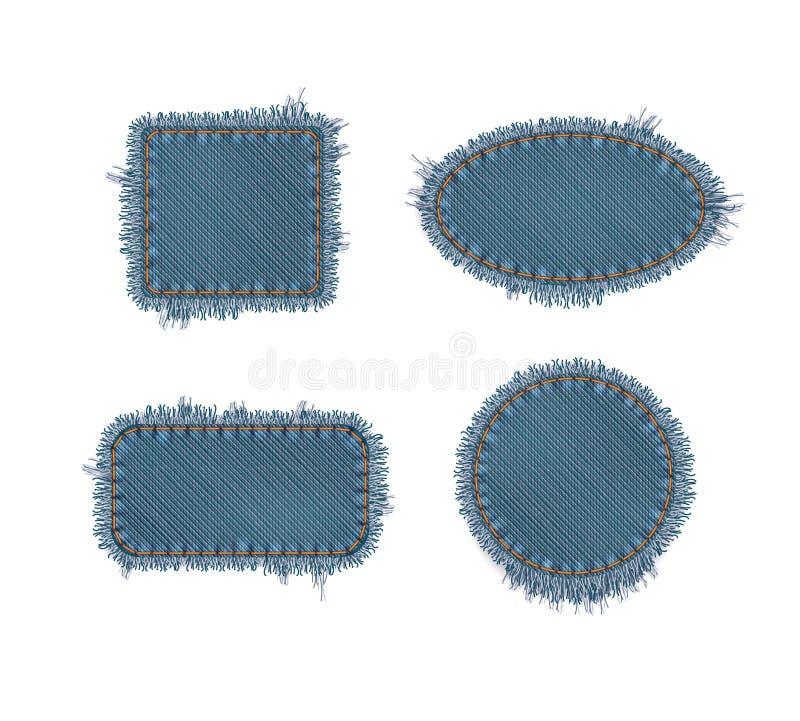 Σχισμένα μπαλώματα τζιν απεικόνιση αποθεμάτων