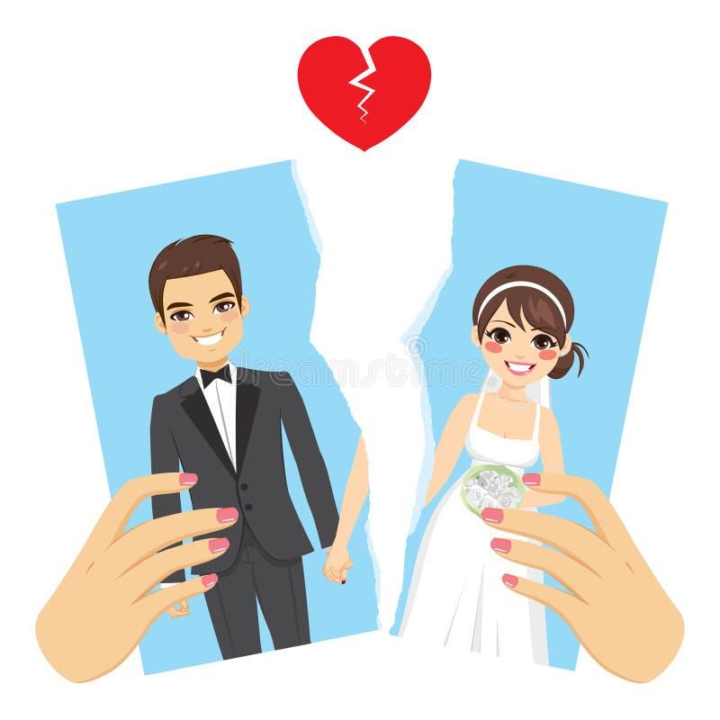 Σχισμένη έννοια διαζυγίου φωτογραφιών ελεύθερη απεικόνιση δικαιώματος