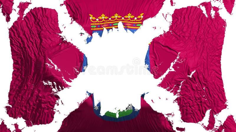 Σχισμένη η Μαδρίτη σημαία που κυματίζει στον αέρα απεικόνιση αποθεμάτων