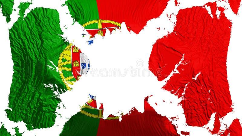 Σχισμένη η Πορτογαλία σημαία που κυματίζει στον αέρα διανυσματική απεικόνιση