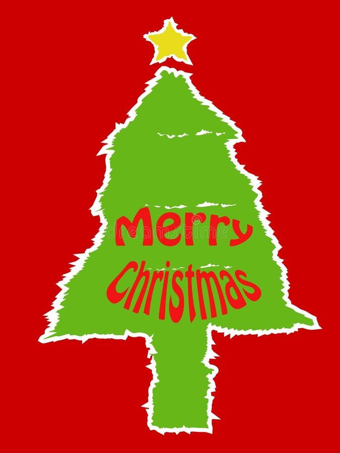 Σχισμένη κάρτα χριστουγεννιάτικων δέντρων εγγράφου απεικόνιση αποθεμάτων